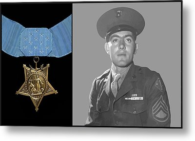 John Basilone And The Medal Of Honor Metal Print by War Is Hell Store