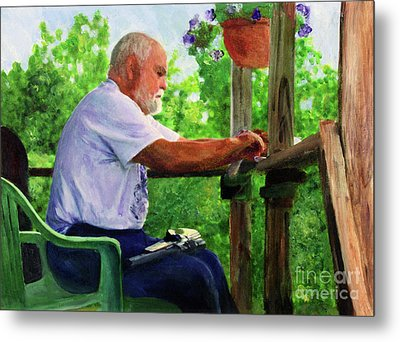 John Cleaning The Rifle Metal Print by Donna Walsh