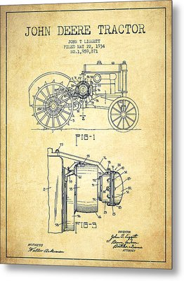 John Deere Tractor Patent Drawing From 1934 - Vintage Metal Print