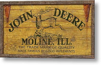 John Deere Sign Metal Print by WB Johnston