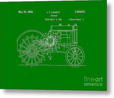 John Deere Tractor Patent Tee Metal Print by Edward Fielding