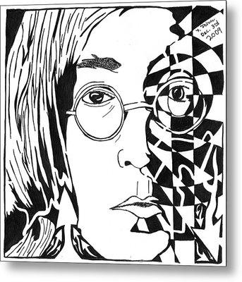 John Lennon Maze Metal Print by Yonatan Frimer Maze Artist