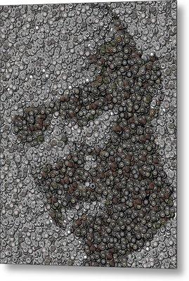 John Locke Dharma Button Mosaic Metal Print by Paul Van Scott