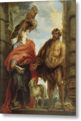 John The Evangelist And Saint John The Baptist Metal Print by Anthony van Dyck