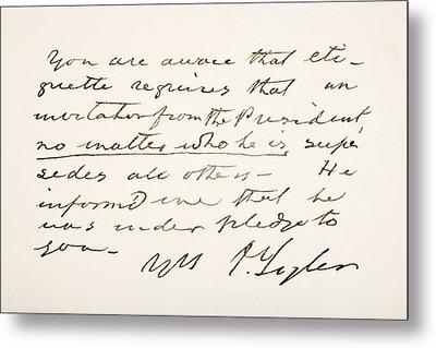 John Tyler 1790 - 1862. 10th President Metal Print