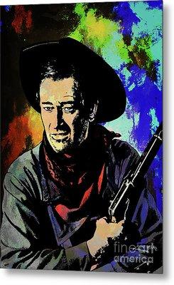 Metal Print featuring the painting John Wayne, by Andrzej Szczerski