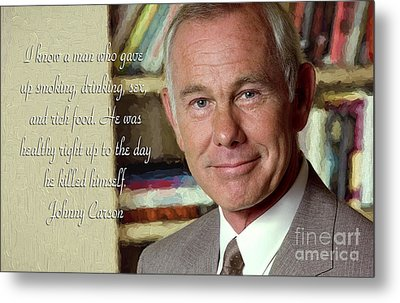 Johnny Carson On Pleasures In Life Metal Print by Garland Johnson