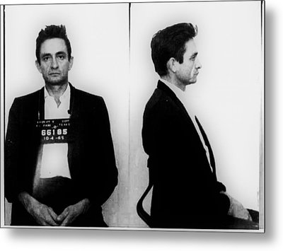 Johnny Cash Mug Shot Horizontal Metal Print by Tony Rubino