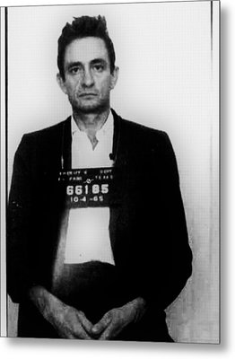 Johnny Cash Mug Shot Vertical Metal Print by Tony Rubino