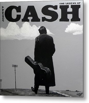 Johnny Cash Metal Print by Tom Carlton