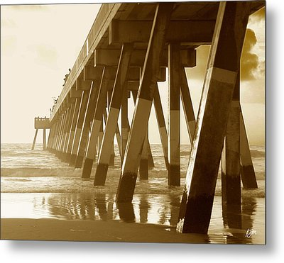 Metal Print featuring the photograph Johnny Mercer Pier At Sunrise by Phil Mancuso