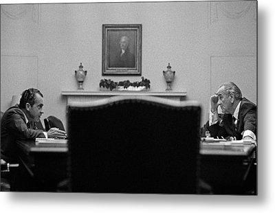 Johnson And Nixon At The White House Metal Print