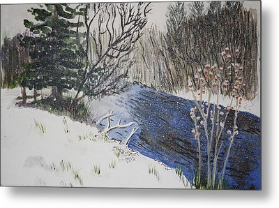Metal Print featuring the painting Johnson Vermont In Spring Snow Storm by Donna Walsh