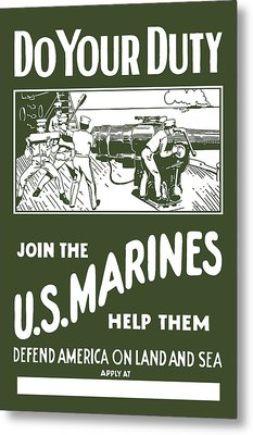 Join The Us Marines Metal Print by War Is Hell Store