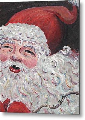 Jolly Santa Metal Print by Nadine Rippelmeyer