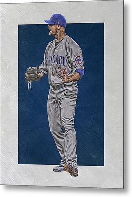 Jon Lester Chicago Cubs Art Metal Print by Joe Hamilton