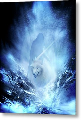 Jon Snow And Ghost - Game Of Thrones Metal Print