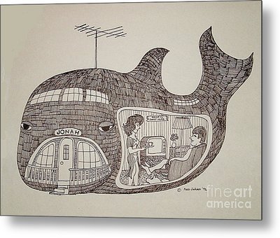 Jonah In His Whale Home. Metal Print