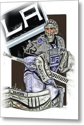 Jonathan Quick Los Angeles Kings Oil Art Metal Print