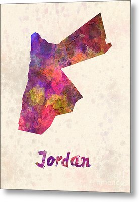 Jordan  In Watercolor Metal Print by Pablo Romero