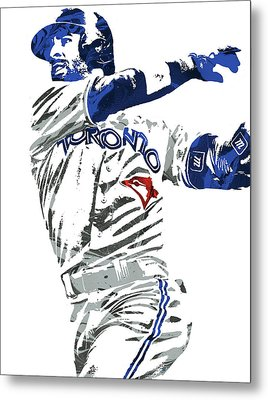 Jose Bautista Toronto Blue Jays Pixel Art 2 Metal Print by Joe Hamilton