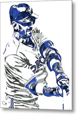 Jose Bautista Toronto Blue Jays Pixel Art Metal Print by Joe Hamilton