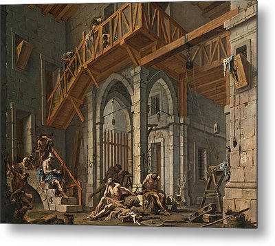 Joseph Interprets The Dreams Of The Pharaoh's Servants Whilts In Jail Metal Print by Alessandro Magnasco