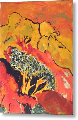 Metal Print featuring the painting Joshua Trees In The Negev by Esther Newman-Cohen