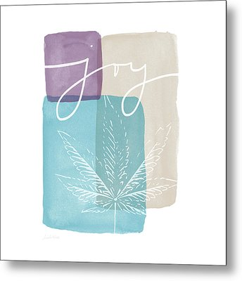 Joy Cannabis Leaf Watercolor- Art By Linda Woods Metal Print by Linda Woods