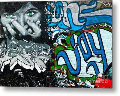 Metal Print featuring the painting Joy Graffiti Wall  by Yurix Sardinelly