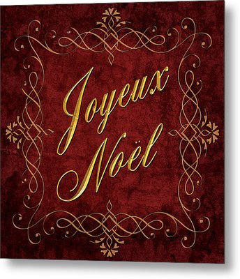 Joyeux Noel In Red And Gold Metal Print by Caitlyn  Grasso