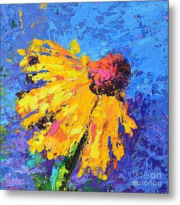 Joyful Reminder Modern Impressionist Floral Still Life Palette Knife Work Metal Print by Patricia Awapara