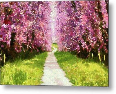 Joyful Spring Walk Impressionism Metal Print by Georgiana Romanovna