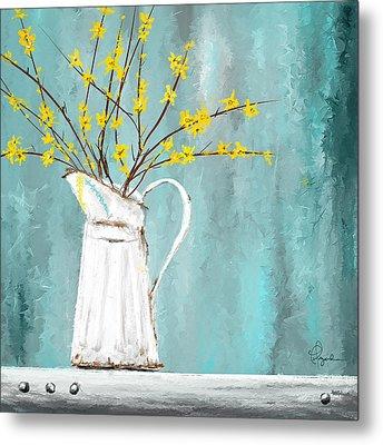 Joys Of Bloom - Forsythia Art Metal Print by Lourry Legarde