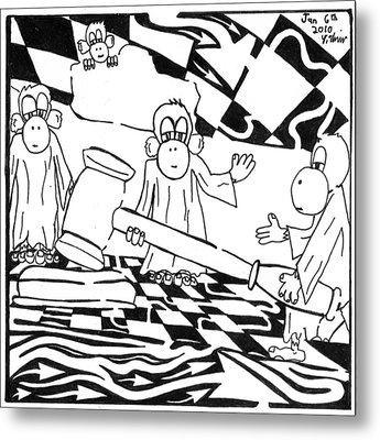 Judicial Monkeys Team Of Monkeys Maze Cartoon By Yonatan Frimer Metal Print by Yonatan Frimer Maze Artist
