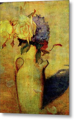 Jug With Yellow And Violet Flowers Metal Print by Sarah Vernon
