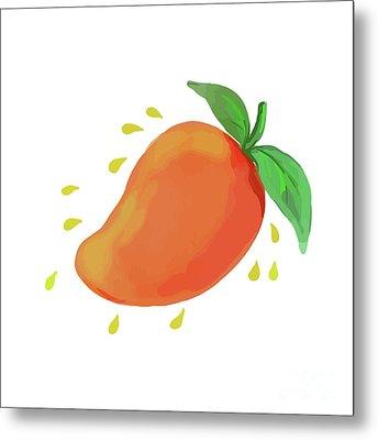 Juicy Mango Fruit Watercolor Metal Print by Aloysius Patrimonio