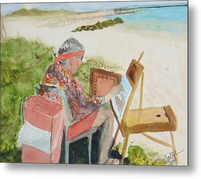 Metal Print featuring the painting Julia Painting At Boynton Inlet Beach  by Donna Walsh