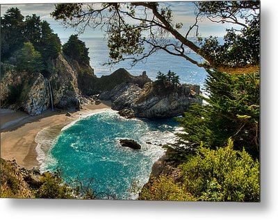 Julia Pfeiffer State Park Falls Metal Print by Connie Cooper-Edwards