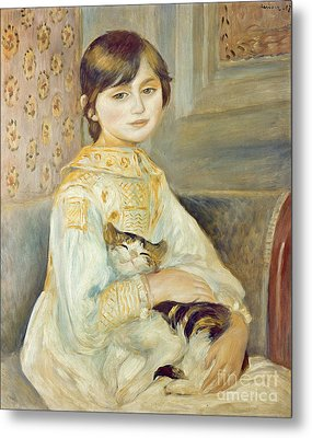 Julie Manet With Cat Metal Print by Pierre Auguste Renoir