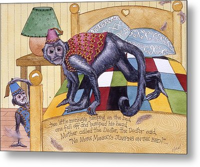 Jumpin Monkeys Metal Print by Victoria Heryet