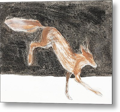 Jumping Fox In The Snow Metal Print by Sophy White