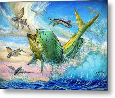 Jumping Mahi Mahi And Flyingfish Metal Print by Terry Fox