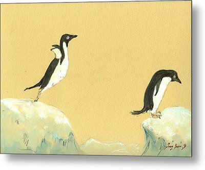 Jumping Penguins Metal Print by Juan  Bosco