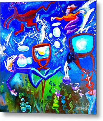 Metal Print featuring the painting Jumping Through Tv Land by Genevieve Esson