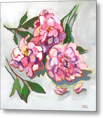 June Peonies Metal Print by Susan Thomas