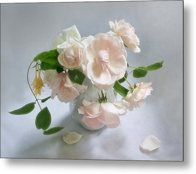 June Roses With Honeysuckle Metal Print