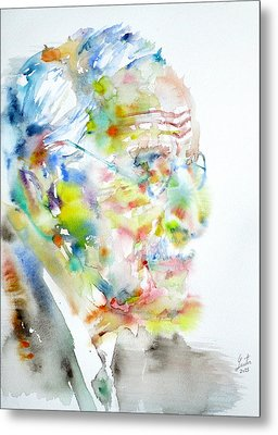 Jung - Watercolor Portrait.4 Metal Print by Fabrizio Cassetta