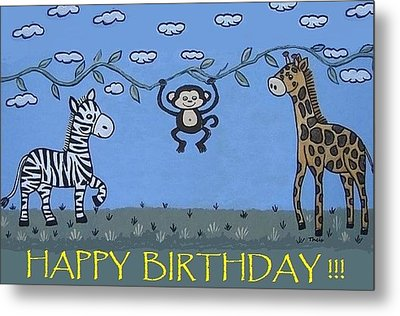 Jungle Animals Happy Birthday Metal Print
