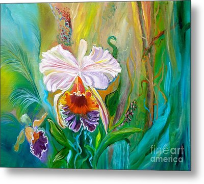 Jungle Orchid Metal Print by Jenny Lee
